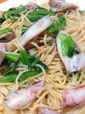 イカと小松菜のパスタ
